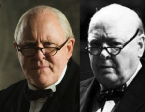 Lithgow as Churchill and the real Churchill side by side