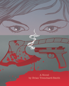 Promotional illustrations for Alice book with woman's face, axe and gun.