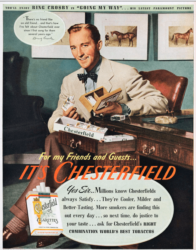 Bing Crosby in a tobacco advertisement