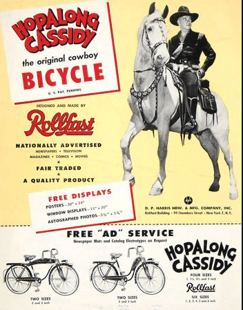 Hopalong Cassidy advertement for a bicycle
