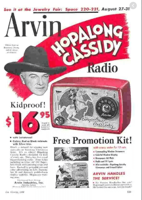 Hoppalong Cassidy advertisement for a radio priced $16.95
