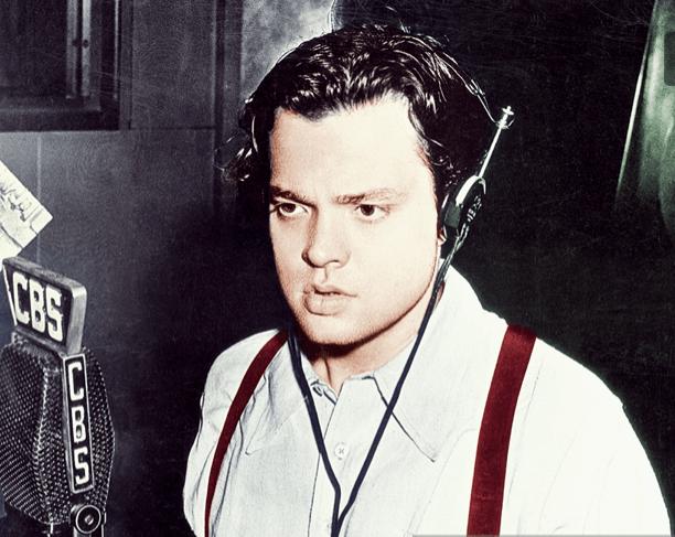 Orson Welles doing a radio recording