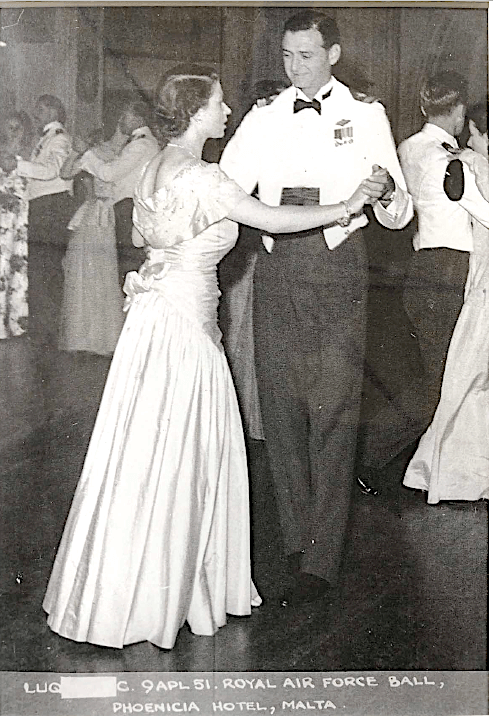 RAF Pilot Eric Trenchard-Smith dancing with Princess Elizabeth